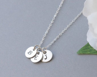 Personalized Initial Jewelry, Three (3) Silver Initials, Layering Necklace Silver, Custom Stamped Necklace, Mother Jewelry,Mother's Day Gift