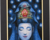 Kuan Yin meditation Buddha art spiritual Buddhist Goddess Zen matted print of painting by Sue Halstenberg