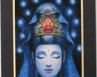 Kuan Yin meditation Buddha art spiritual Buddhist Goddess Zen matted print of painting by Sue Halstenberg