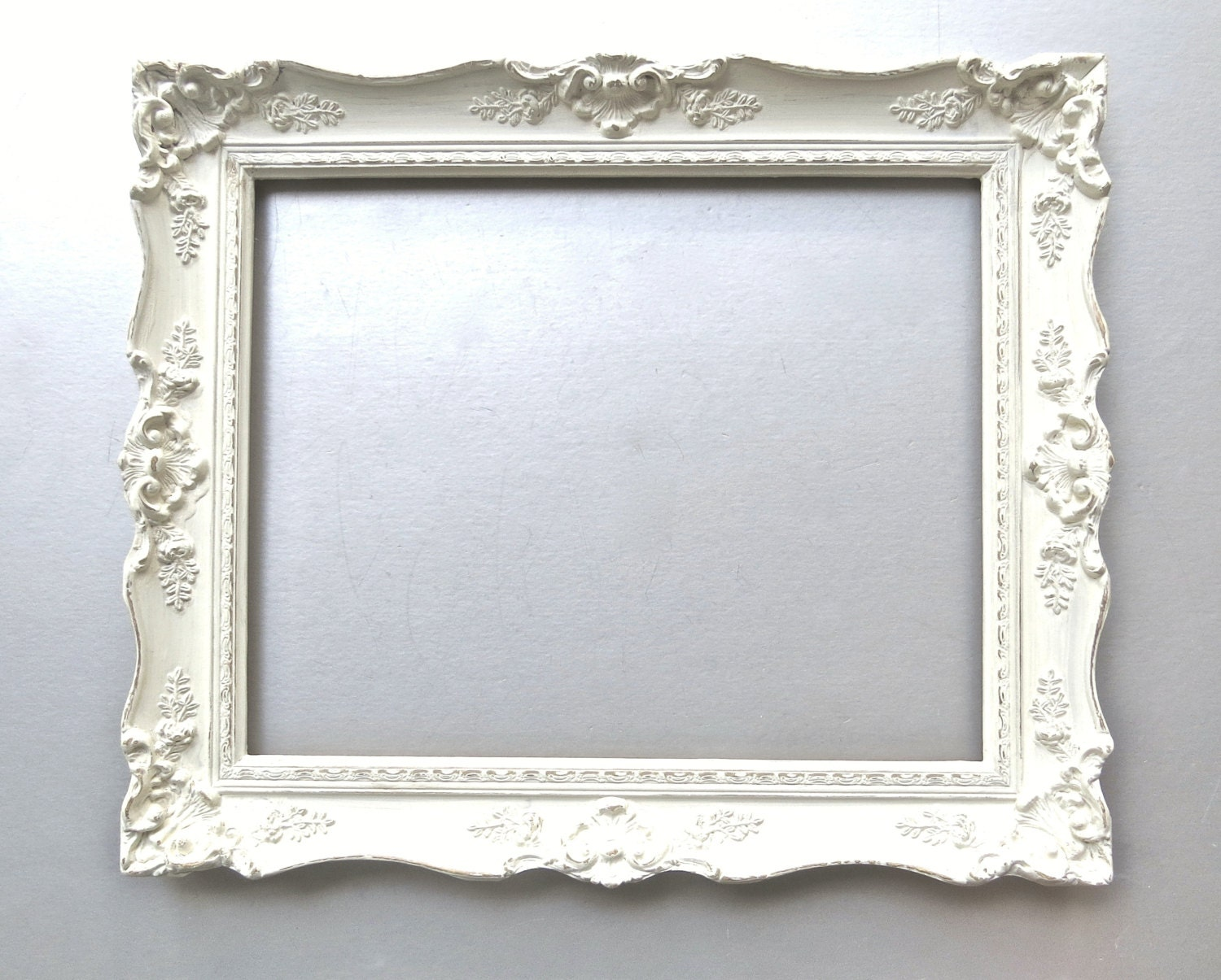 Shabby cottage chic frame large vintage frame ivory french for Large a frame