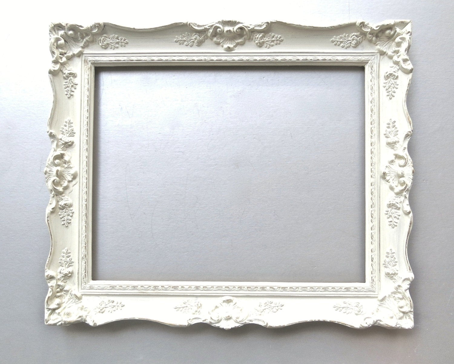 Shabby cottage chic frame large vintage frame ivory french for How to make vintage frames