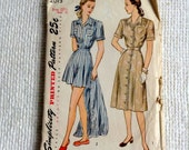 "Simplicity Woman's Size 22 1/2  Play Suit Pattern 2013.  Vintage 1940 sewing pattern.    Bust size 41"", Hip size 44"".  No. 2013."