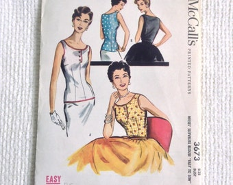 Vintage 1950 Blouse sewing pattern.   McCall's.  Misses Size 14.   Bust size 32.  No. 3673.