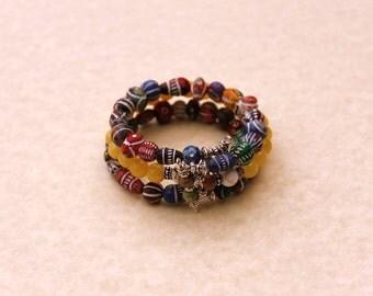 Multi Color Beaded Wrap Bracelet, Tribal Bracelet, Bohemian Jewelry, Boho Wrap Bracelet, Southwestern Style