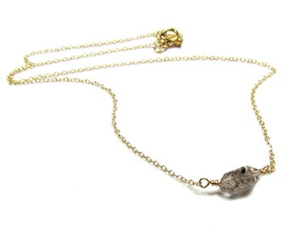 Rough Cut Gemstone Necklace, 14kt Gold filled, Simulated Black Diamond Quartz Necklace