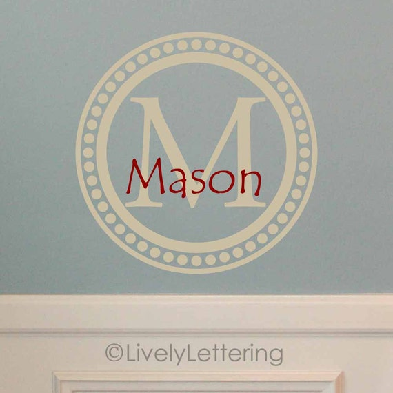Name and Initial wall decal, Name and Letter in Dot Frame wall decal, boys bedroom wall decal, custom vinyl lettering (W00979)