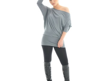 Off the shoulder top, Women's tunic top, Long tunic top, Women shirt, Tunic top for women, Plus size tunics, Tunic for leggings, tunic top