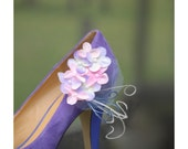 Shoe Clips Pink & Lavender Pastels Hydrangeas. Bridesmaid Bride. ALSO Yellow Celadon Green Fuchsia Navy. Ivory White Feathers Tulle Pearls