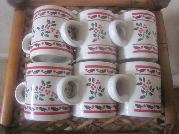 CHRISTMAS EGGNOG CUPS Set of 6 Bisque china by ItseeBitsee on Etsy