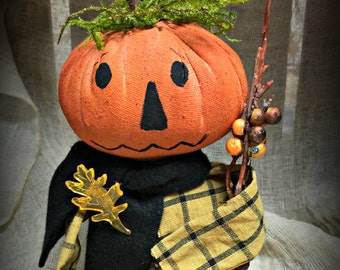 Primitive Pumpkin Head Man Doll