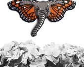 Elephant Butterfly Brooch, Elephant Brooch, Butterfly Brooch, Animal Jewelry, Elephant Jewelry, vegan jewelry, vegan brooch - ORANGE