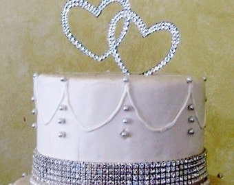 Crystal Hearts Cake Topper