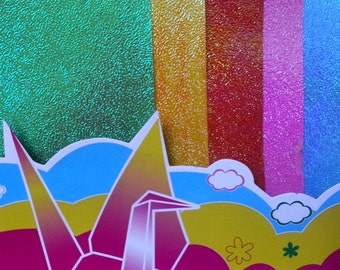 Origami Paper - Pearlescent Flourescent Paper Pack (10 sheets) 18cm x 18cm