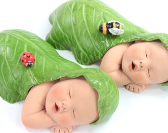 Garden Baby Shower Sugar Paste Baby Cake Topper Twins with Leaves, Ladybug & Bumble Bee by lil sculpture