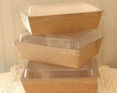 Kraft Boxes, 6 Brown Kraft Salad / Food Boxes with Plastic Lids, Food Tray, Brown Paper Salad Box, Lunch Box, Kraft Food Box, Rustic Wedding
