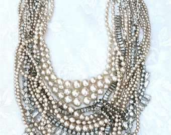 Custom Wedding Necklace Bridal Jewelry Chunky Rhinestone Pearl Necklace Made To Order Bridal Statement Necklace Vintage Rhinestone Necklace