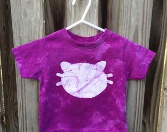 Kids Cat Shirt (2T), Purple Cat Shirt, Boys Cat Shirt, Girls Cat Shirt, Kids Kitten Shirt, Toddler Cat Shirt, Batik Cat Shirt, Kids Batik