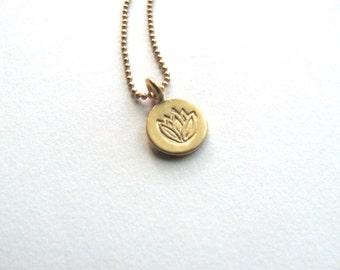 Gold vermeil lotus flower charm necklace, 24k gold vermeil disc coin charm, 14k gold plated chain