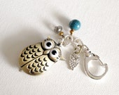 Owl Clock Keychain, Mixed Metal, Silver and Bronze