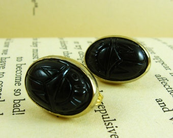 Black and Gold Earrings, Tribal Jewelry, Black Earrings, Lucite Earrings, Tribal Earrings, Carved Earrings, Oval Earrings, Unique Earrings