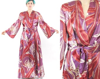 Vintage 1940's Dressing Gown Robe Palm Print Dress Long Jacket Wrap Coat Bell Sleeves Old Hollywood Pinup Bombshell Satin Nightgown