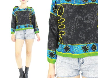 80s 90s Abstract Blouse Boho Batik Print Blouse Hippie Top Ethnic Print Shirt Black Blue Green Fish Novelty Print Top Long Sleeves (S/M)