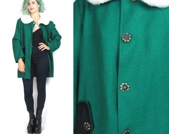 80s Green Wool Winter Coat Bright Kelly Green Coat Winter Jacket Faux Fur Collar Princess Swing Coat Button Up Long Sleeve Coat (M/L)