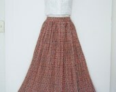 vintage 1990s SUMMER MAXI SKIRT long pleated soft cotton flowy broom skirt, size small