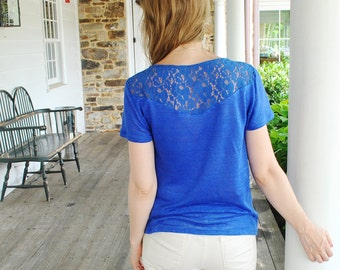 SALE Daria- T-Shirt/ Blue 100% linen with lace detail on the back and shoulders/ Blue linen T-shirt/ Linen jersey/ Designer top/