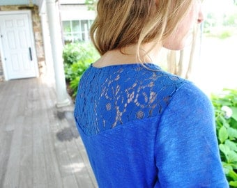 SALE Siza Small Daria- T-Shirt/ Blue 100% linen with lace detail on the back and shoulders/Lace insert linen/ Designer top/ Linen t-shirt