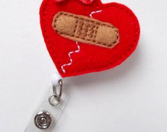 Mended Bandaid Heart - Retractable Badge Reel - Nurse Badge Holder - Nursing Badge - Felt Badge - RN Badge - Pediatric Nurse Badge - Gift