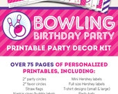 Pink Bowling Birthday Party Printable Decor Kit - Over 75 pages of personalized printables!