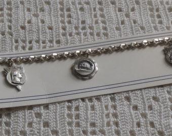 Vintage Charm Bracelet Souvenir U.S. Capitol, Mount Vernon, George Washington