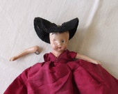 """Vintage 1940's Painted Composition EUGENIA Doll with Issues ~ For the Collector or for Altered Art ~ 6"""" Including Dress ~ Jointed Arms ~"""