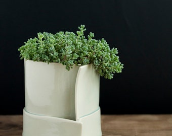 Hand built Porcelain Planters for the Modern Rustic Home// Orbital Series, large