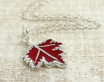Red Maple Leaf Necklace, Sterling Silver Maple Leaf Charm on a Silver Cable Chain