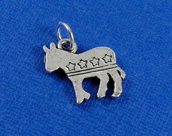 Democrat Donkey Charm - Silver Plated Democrat Donkey Charm for Necklace or Bracelet