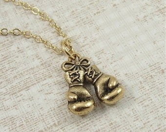 Boxing Gloves Necklace, Gold Boxing Gloves Charm on a Gold Cable Chain