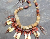 Island Sunset Tribal Necklace, Knotted Necklace, Yellow Opal, Citrine, Statement Necklace, Earthy Jewelry by YaY Jewelry