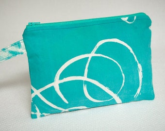 Handbag Wristlet Clutch, Screenprinted Wristlet Clutch in Blue Green White and Pink, Zippered Small Pouch, Hand Drawn Swirls,