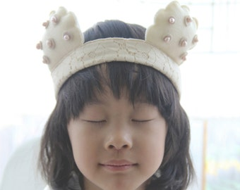 Handmade Baa Baa Ivory Sheep Lambie Pearl Felt Lace Woodland Headband for kids