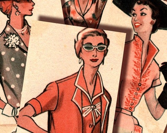 French Chic 1950's 1940's Fashion Women 2.5 x 3.5 ATC inch Instant Download digital collage sheet printable n045