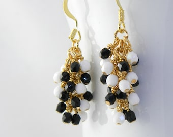 Black and White Cluster Earrings on Gold Wire