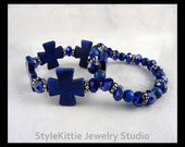 Cobalt Blue, Turquoise, Maltese Cross, 925 Sterling Silver, Stretch Bracelets, Faceted Crystals, Layered, Set of Two, Dark Navy, Jewelry