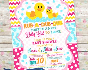 Rub-A-Dub-Dub Baby Shower, Baby Girl Invite, Rubber Duckie Baby Shower, Bubbles, Duck Invitation, Printable DIY, Rubber Duck Baby Shower,