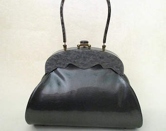 "Gorgeous 1950's Grey Patent Leather Purse with Lucite Handle by ""Claire Fashions"" Rockabilly VLV Pinup Girl Vixen"