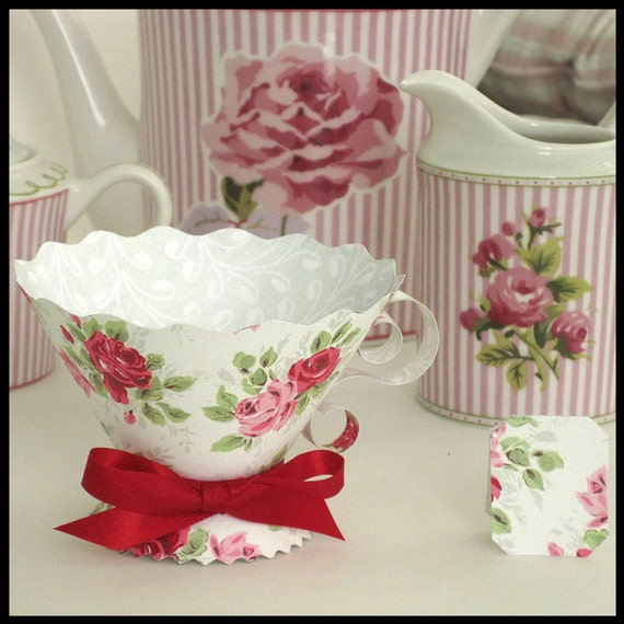 Teacup party favors vintage roses pink red tea party high for Victorian tea party favors