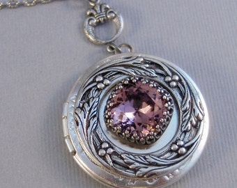 Alexandrite Star,Purple Necklace,Purple Locket,Antique Locket,Silver Locket,Princess Cut.June Birthstone,Birthstone,june Valleygirldesigns.