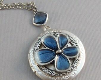 Wildflower,Locket,Blue Flower,Blue Locket,Blue Flower Locket,Blue Necklace,Flower Necklace,Silver,Silver Locket,Blue,Flower,valleygirldesign