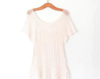 Vintage Lace Blouse * 70s Crochet Tunic Top * Ivory White Shirt * Medium - Large
